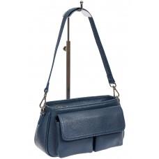 На фото 1 - Кожаная женская сумка-багет, цвет тёмно-синий