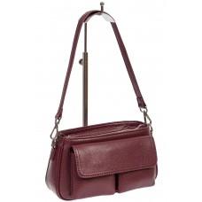На фото 1 - Кожаная женская сумка-багет, цвет бордовый