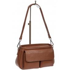 На фото 1 - Кожаная женская сумка-багет, цвет коричневый