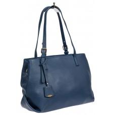 На фото 1 - Женская сумка тоут из натуральной кожи с декоративной подвеской, синяя
