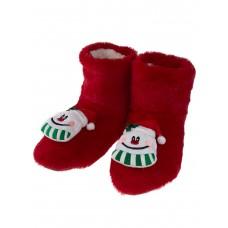 На фото 1 - Детские тапочки-угги с объёмным декором-снеговичками в ассортименте, цвет красный