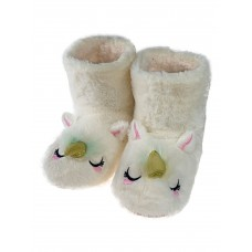 На фото 1 - Женские домашние тапочки-угги в виде единорожков, цвет белый