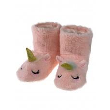 На фото 1 - Женские домашние тапочки-угги в виде единорожков, цвет розовый