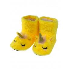 На фото 1 - Женские домашние тапочки-угги в виде единорожков, цвет жёлтый