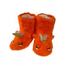 На фото 1 - Женские домашние тапочки-угги в виде единорожков, цвет оранжевый