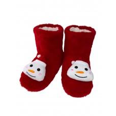 На фото 1 - Женские тапочки-угги с объёмным декором-снеговиком в ассортименте, цвет красный