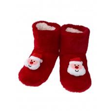На фото 1 - Женские тапочки-угги с объёмным декором - Дедом Морозом в ассортименте, цвет красный