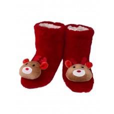 На фото 1 - Женские тапочки-угги с объёмными оленями в ассортименте, цвет красный