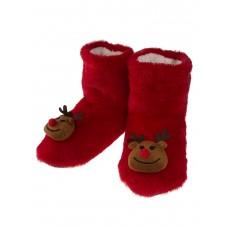 На фото 1 - Женские тапочки-угги с объёмным декором-оленями в ассортименте, цвет красный