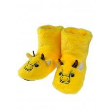 На фото 1 - Домашние женские тапочки-угги в виде символов года - бычков, цвет жёлтый