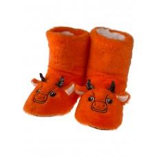 На фото 1 - Домашние женские тапочки-угги в виде символов года - бычков, цвет оранжевый