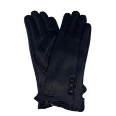 На фото 1 - Женские перчатки из натуральной кожи оленя, чёрные