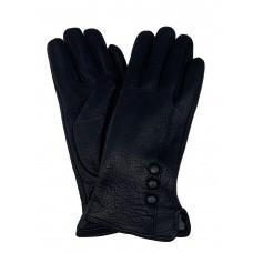 На фото 1 - Женские утеплённые перчатки из натуральной кожи оленя, цвет чёрный