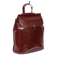На фото 1 - Женская сумка-рюкзак из натуральной кожи, цвет тёмно-бордовый