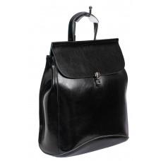 На фото 1 - Женская сумка-рюкзак из натуральной кожи, цвет чёрный