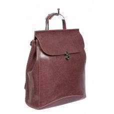 На фото 1 - Женская сумка-рюкзак из натуральной кожи, цвет лиловый