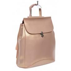 На фото 1 - Женская сумка-рюкзак из натуральной кожи, цвет розовый с перламутром