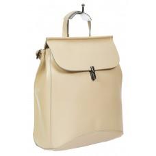 На фото 1 - Женская сумка-рюкзак из натуральной кожи, цвет молочный