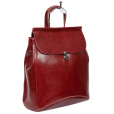 На фото 1 - Женская сумка-рюкзак из натуральной кожи, цвет бордо