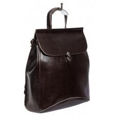 На фото 1 - Женская сумка-рюкзак из натуральной кожи, цвет шоколад