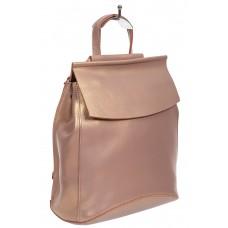 На фото 1 - Рюкзак-трансформер женский из гладкой натуральной кожи, цвет пудровый с перламутром