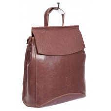 На фото 1 - Рюкзак-трансформер женский из гладкой натуральной кожи, цвет лиловый