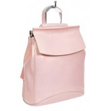На фото 1 - Рюкзак-трансформер женский из гладкой натуральной кожи, цвет розовый с перламутром