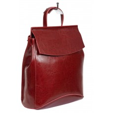 На фото 1 - Рюкзак-трансформер женский из гладкой натуральной кожи, цвет бордовый