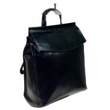 На фото 1 - Рюкзак-трансформер из натуральной кожи, цвет чёрный