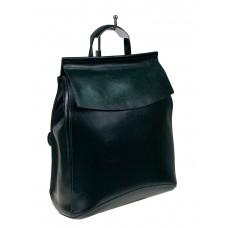 На фото 1 - Рюкзак-трансформер из натуральной кожи, цвет тёмно-зелёный