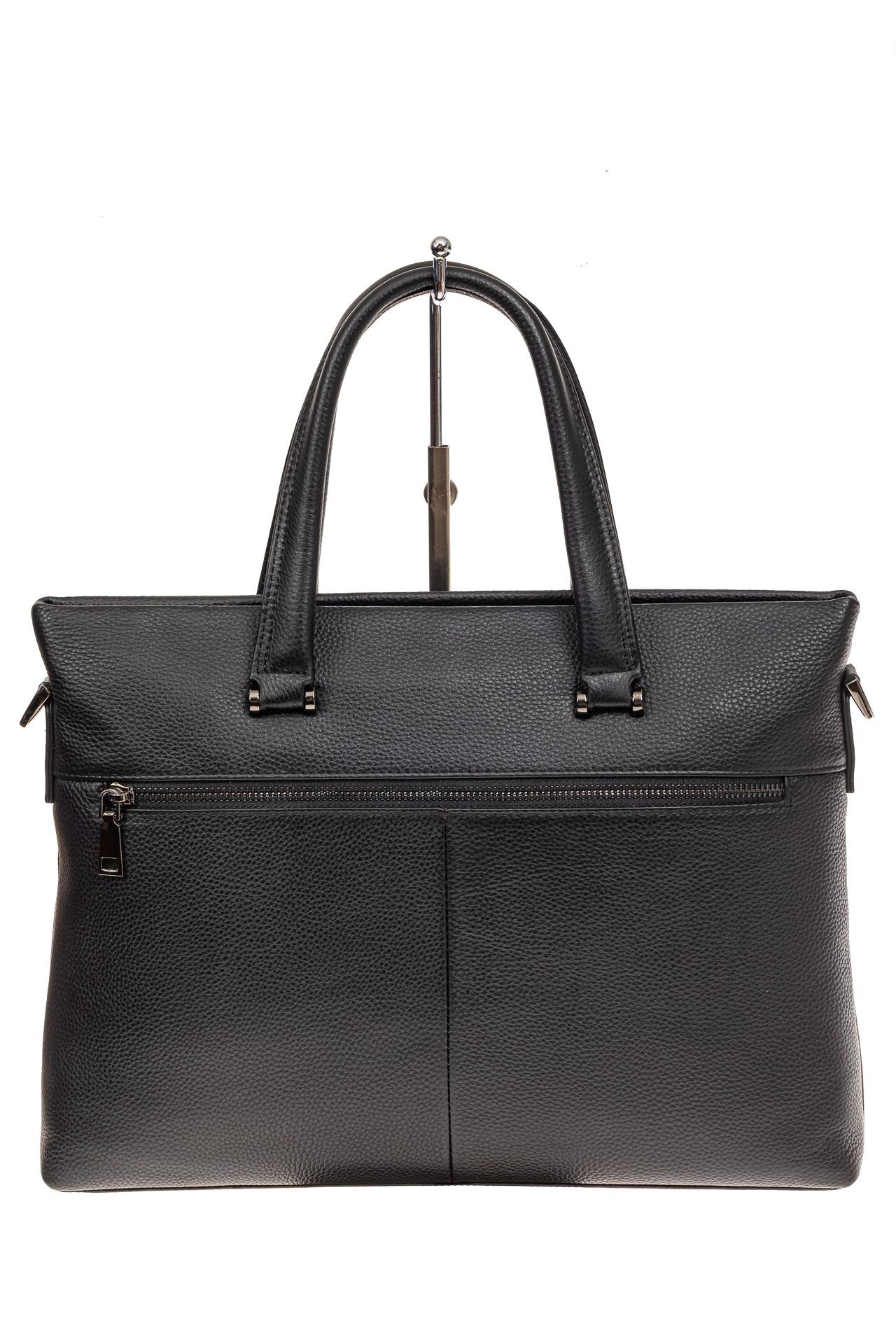 На фото 3 - Портфель мужской из натуральной кожи, цвет черный