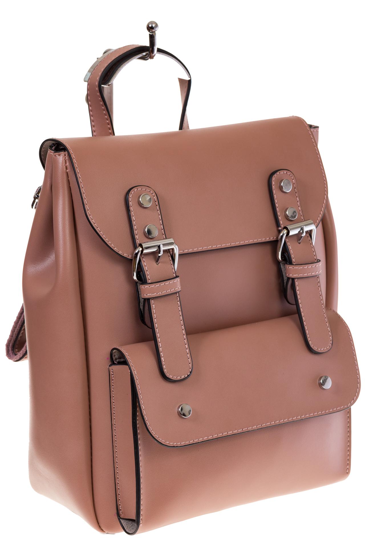 Купить оптом женский ранец из эко-кожи, цвет пудра, фото