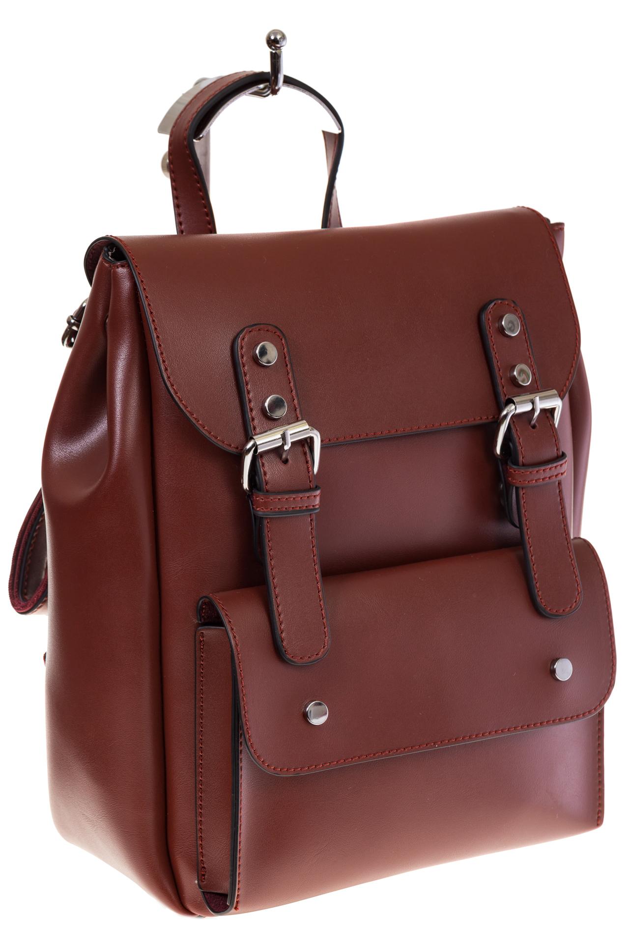 Купить оптом женский ранец из эко-кожи, цвет корица, фото