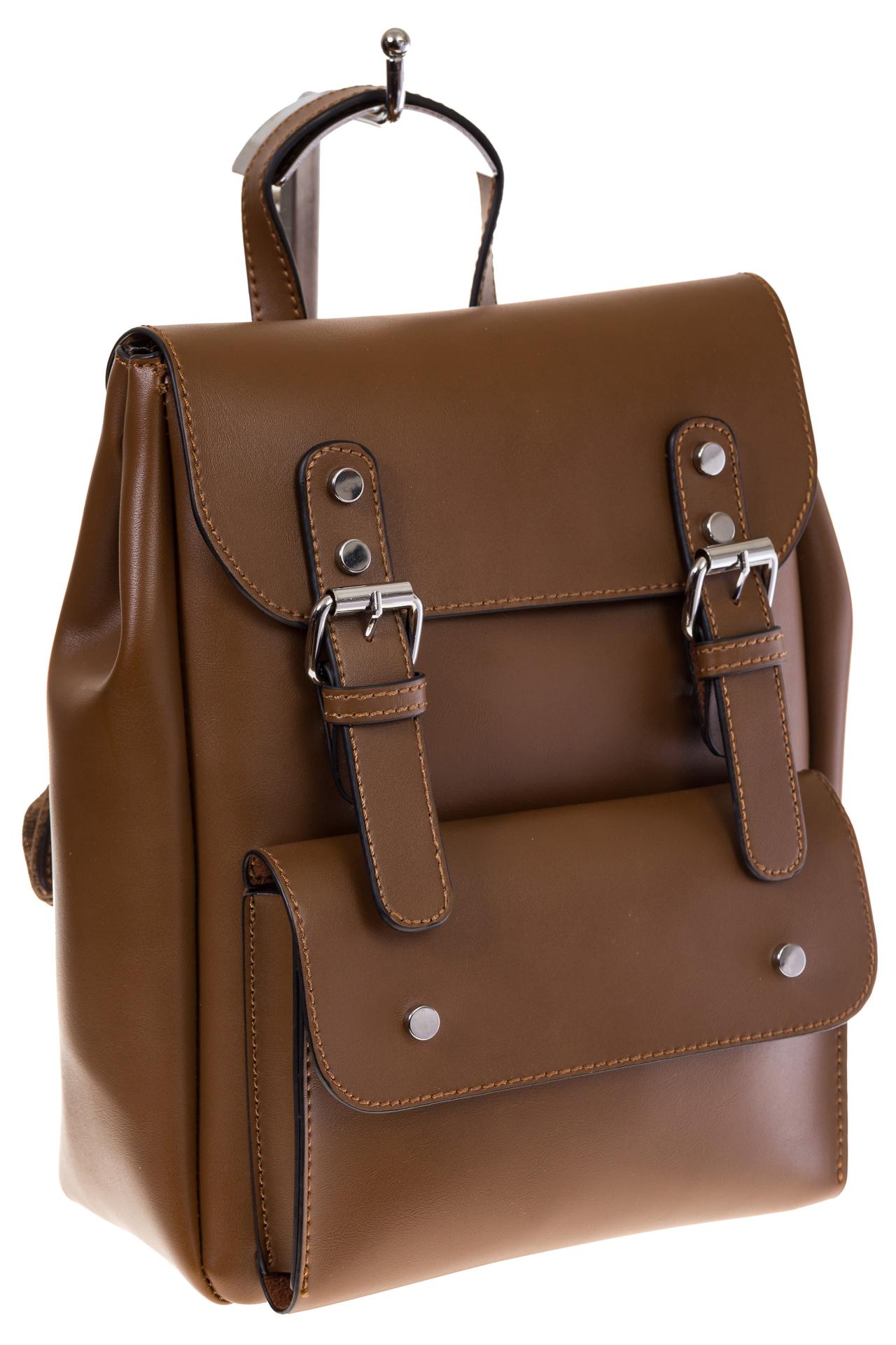 Купить оптом женский ранец из эко-кожи, цвет коричневый, фото