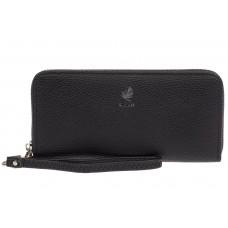 На фото 1 - Женский кошелёк-клатч из фактурной искусственной кожи, цвет чёрный