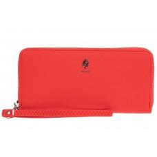 На фото 1 - Женский кошелёк-клатч из фактурной искусственной кожи, цвет красный