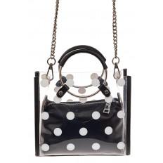На фото 2 - Ring-bag из винила и эко-кожи, цвет черный