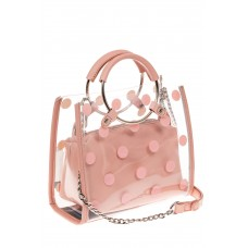 На фото 1 - Ring-bag из винила и эко-кожи, цвет розовый