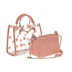 На фото 3 - Ring-bag из винила и эко-кожи, цвет розовый