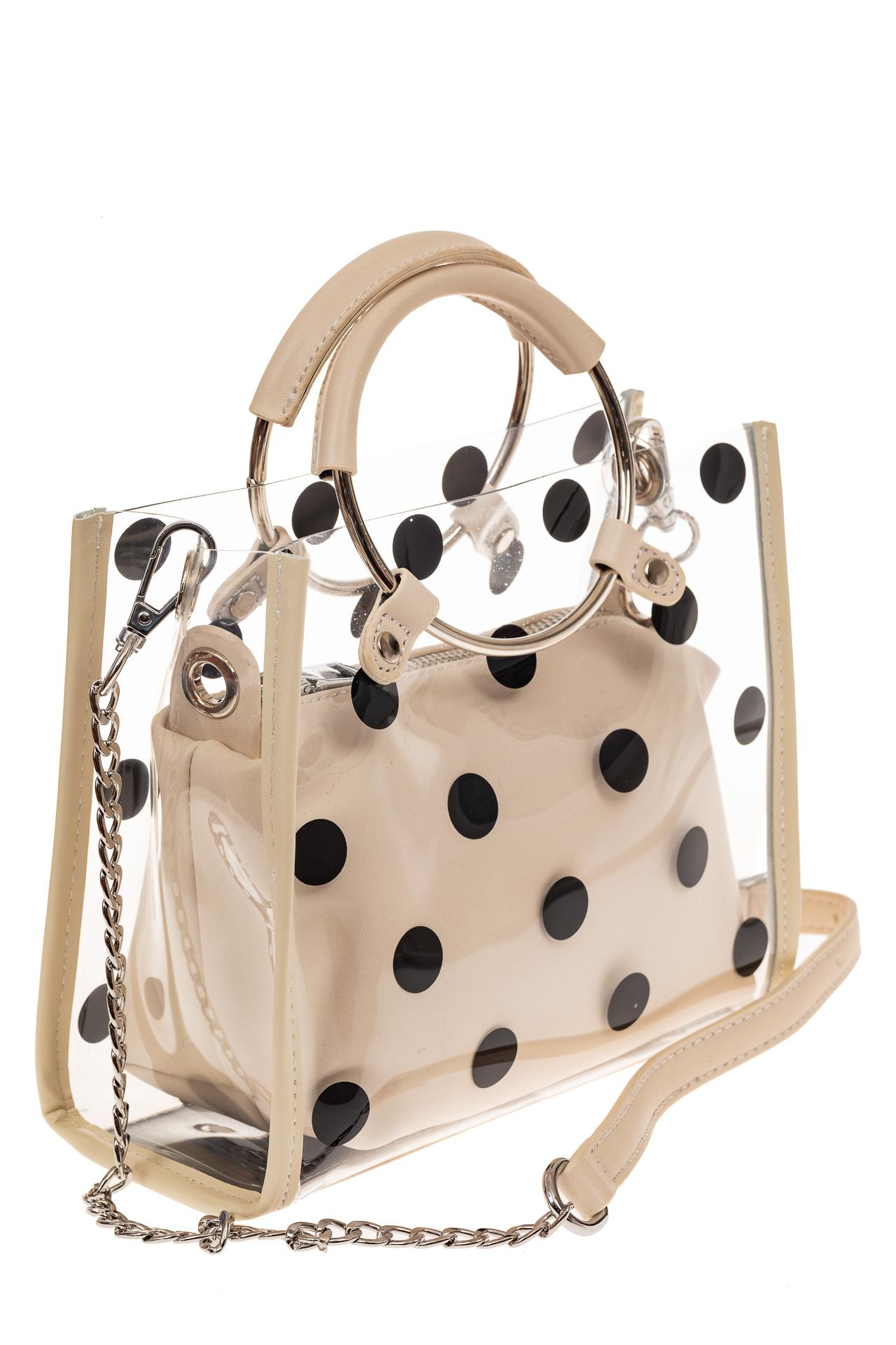 На фото 1 - Ring-bag из винила и эко-кожи, цвет кофе с молоком