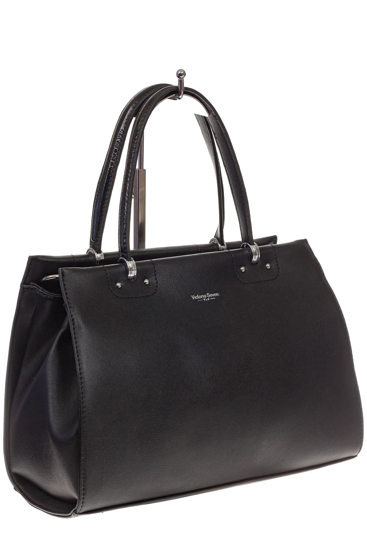 На фото 1 - Черная женская сумка из искусственной кожи