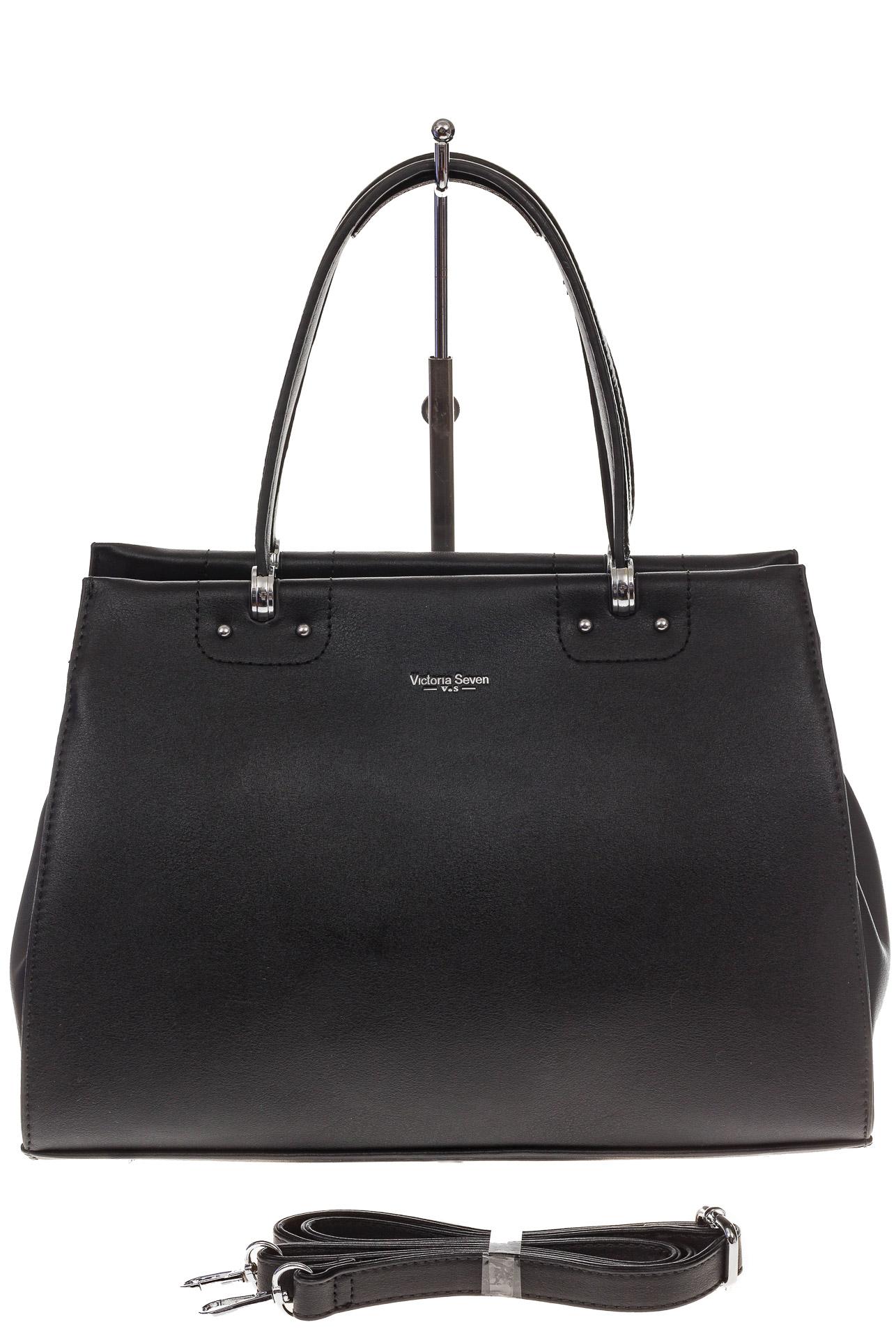 На фото 2 - Черная женская сумка из искусственной кожи