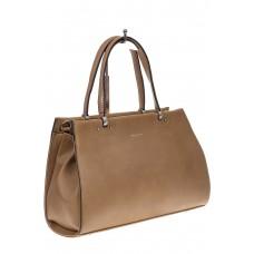 На фото 1 - Бежево-коричневая женская сумка из искусств...