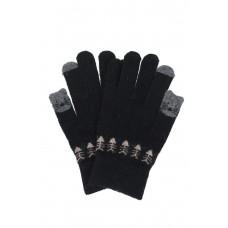 На фото 1 - Забавные шерстяные перчатки с рисунком, цвет чёрный