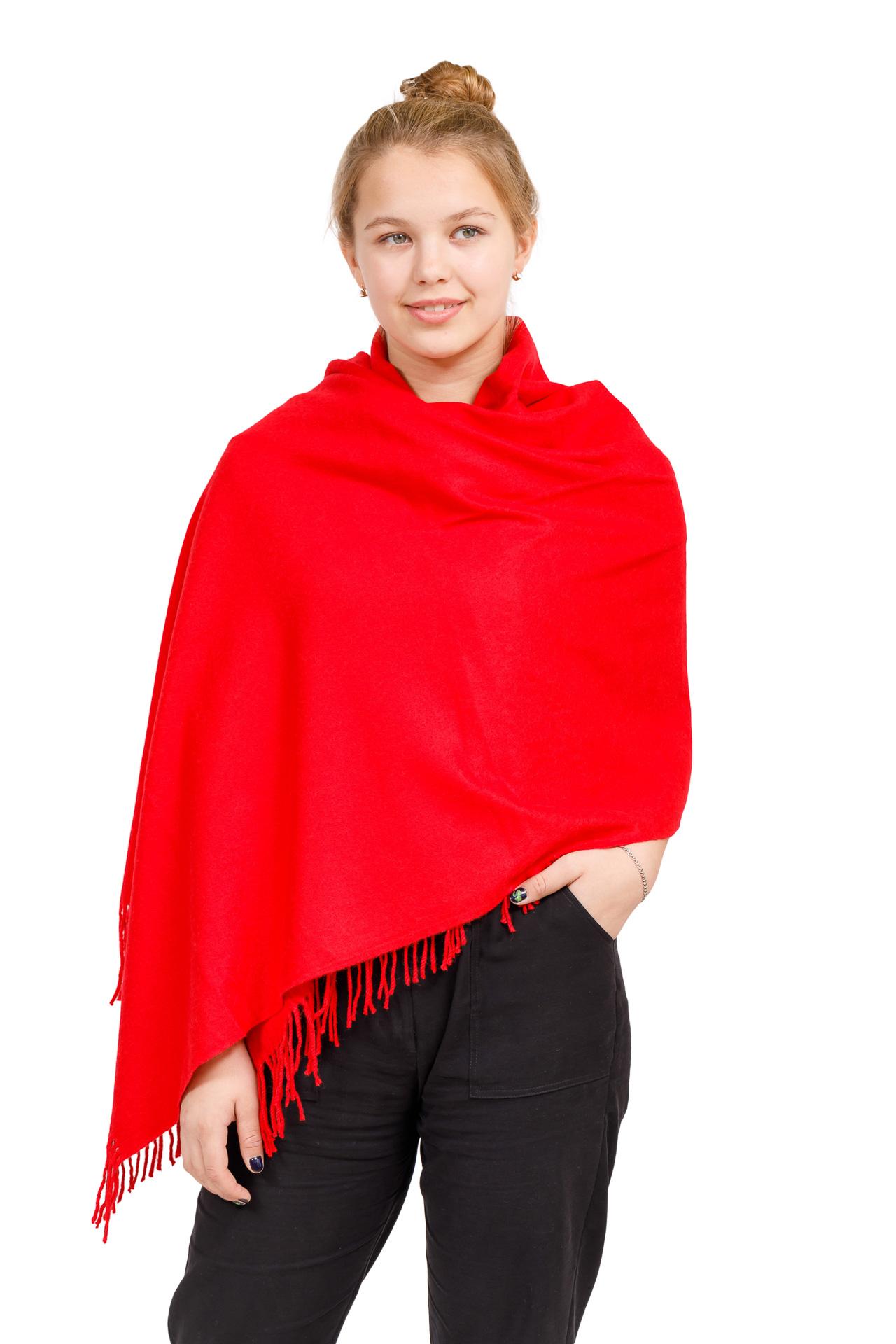 На фото 1 - Шарф-палантин из кашемира, цвет красный