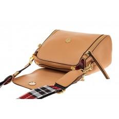 На фото 3 - Наплечная сумка из искусственной кожи с эффектным замком, цвет бежевый