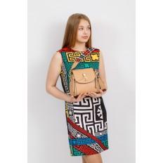 На фото 4 - Наплечная сумка из искусственной кожи с эффектным замком, цвет бежевый