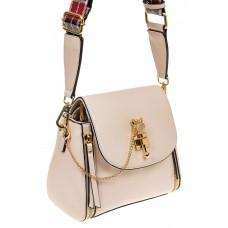 На фото 1 - Наплечная сумка из искусственной кожи с эффектным замком, цвет белый
