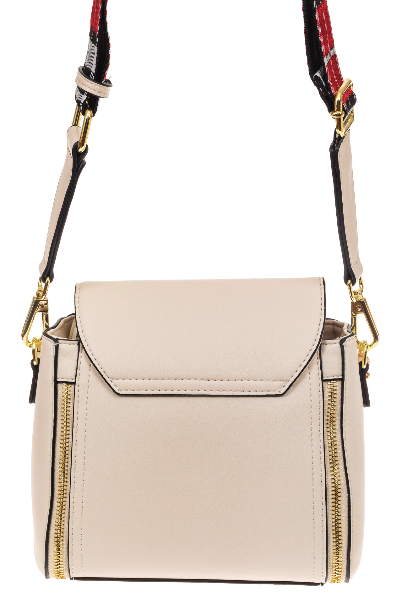 На фото 2 - Наплечная сумка из искусственной кожи с эффектным замком, цвет белый