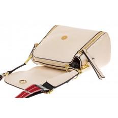 На фото 3 - Наплечная сумка из искусственной кожи с эффектным замком, цвет белый